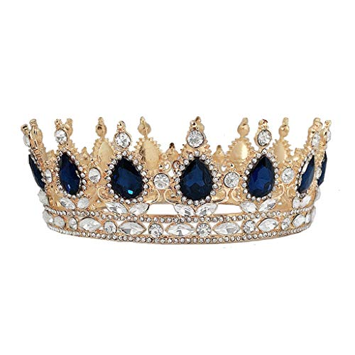 lijun Crown Rhinestone Tiaras for Costume Party Hair Accessories with Gemstone Gold
