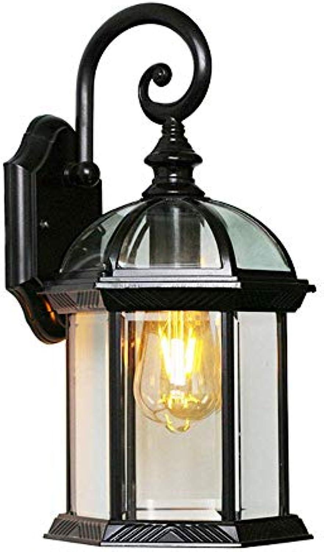 Vintage E27 Wasserdichter Auenleuchte Schwarz Wandleuchte Aluminium und Glas Schatten Auenwandleuchte Gartenlampe Aussen Lampe Landhaus Eingangsbeleuchtung,19.5  20  41cm