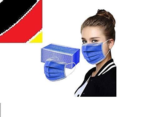 10 x Mundschutz Masken Einweg Mund Nase Gesicht 3 lagig Community Hygiene Behelfsmaske Einmal (17 x 9,3 cm, dunkelblau, 10)