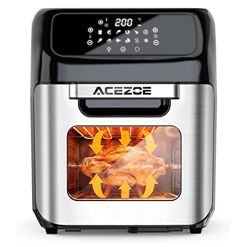 Acezoe Heißluftfritteuse, 12,5L XXL Digitalem LED-Touchscreen Air fryer, 12 Smart Programme Heißluftbackofen Friteuse Ohne ÖL Heissluftfritteuse mit 43 Zubehör Rezeptbuch, 1800W