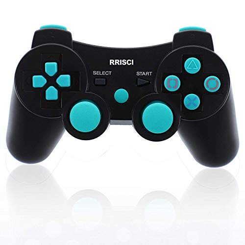 RRISCI Wireless Controller for PS3 SIXAXIS Double Vibration Motors Dualshock3 Gamepad for Playstation3 with Charge Cord (Blue)