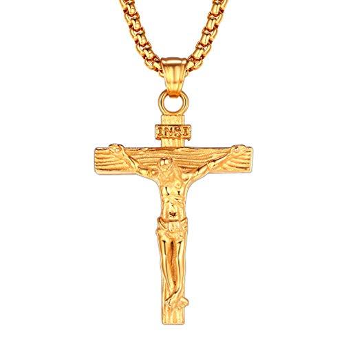 FaithHeart Dorado Collar Acero Inoxidable para Familia Amigos Colgante Crucifijos Jesucristo Colgante Pequeño Grande de Cruz Clásica
