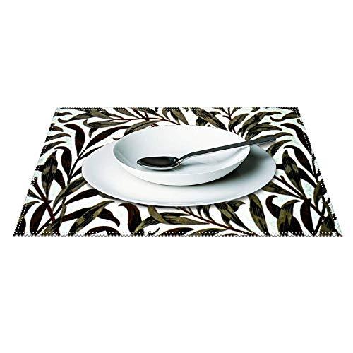 William Morris - Juego de 4 manteles individuales (tela impermeable, lavable, resistente al calor, para cocina, comedor, decoración de...