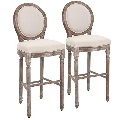 HOMCOM 2 Piece Vintage Wooden Bar Height Chairs Set with Soft Linen Cushions, Underneath Footrest, & Robust Build, Cream