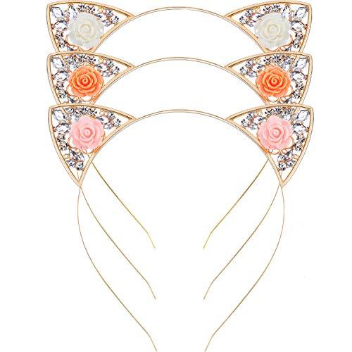 Jovitec Cat Ears Headband Crystal Rhinestone Cute Cat Headband Cat Ears Hair Hoop Hairbands Cosplay Costume Party for Women Girls, 3 Pieces