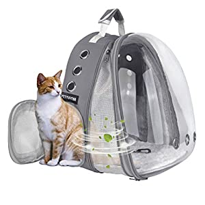 Petmania Pet Carrier Backpack [Gray Expandable Front] – Transparent Bubble Carrier, for Small Dogs/Puppies, Cats/Kittens, Walking, Hiking, Traveling, Airline Approved