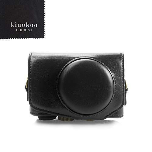 Canon SX740 Hülle, Kinokoo PU Leder Kameratasche mit Riemen für Canon PowerShot SX720 HS SX730 HS und SX740 HS(schwarz)