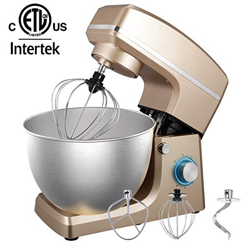 Stand Mixer, 8.5QT 660W 6-Speed Dough Mixer with Stainless Steel Bowl, Kitchen Electric Mixer with Dough Hooks, Whisk, Beater, Pouring Shield