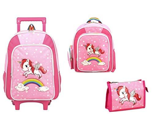 STEFANO Kinder Reisegepäck Einhorn Unicorn Set Pink mit Regenbogen für Mädchen (3tlg. Set)