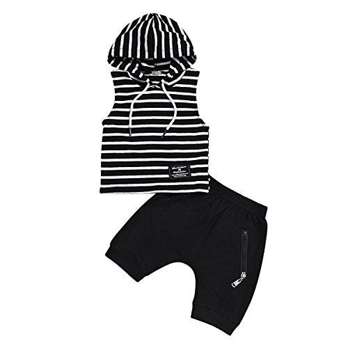 2 stks Baby Jongen Zwart en Wit Gestreepte Hood Hoodie Solid T-shirt + Broek Suits