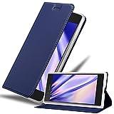 Cadorabo Hülle für Sony Xperia XZ/XZs in Classy DUNKEL BLAU - Handyhülle mit Magnetverschluss, Standfunktion & Kartenfach - Hülle Cover Schutzhülle Etui Tasche Book Klapp Style
