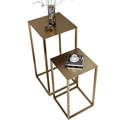 Tavolini Estraibili, Set Industriale di 2 tavolini, Comodino, Ferro da Stiro in Metallo, for Soggiorno, Camera da Letto, Balcone (Color : Gold)