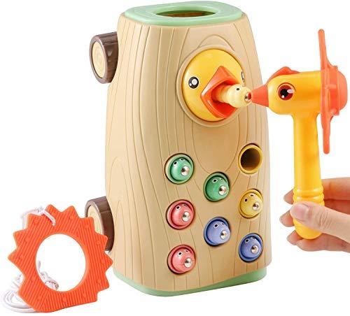 BBLIKE Montessori Spielzeug Magnetisches Kinderspiel, braucht Nicht Batterie 3-IN-1 Ziehen Entlang Bus Spielzeug Wurm Fangen Spiel Hämmerchenspiel für Mädchen Junge 2 3 4 Jahre Alt