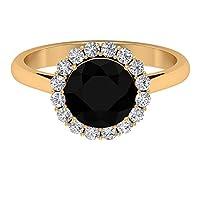 ソリティアラウンド型ブラックオニキスリング D-VSSI モアッサナイトヘイローリング 2.5カラット宝石婚約指輪、ウェディングジュエリー、ブライダルリング, 14K イエローゴールド, Size: 15