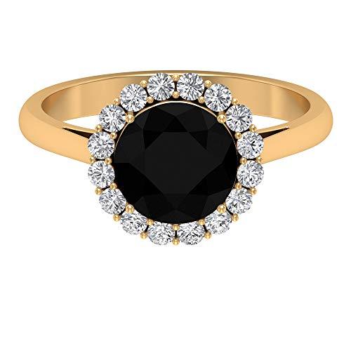 Anillo solitario redondo de ónix negro, D-VSSI Moissanite halo, anillo de compromiso de 2,5 quilates con piedras preciosas, joyería de boda, 14K Oro amarillo, Size:EU 70
