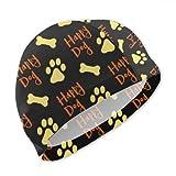 Quote Animal Dog Paw Print Bones Gorros de natación para niñas Gorro de natación Duradero y Transpirable Gorro de baño de Secado rápido Resistente a los Rayos Ultravioleta Adecuado para niños y niñas