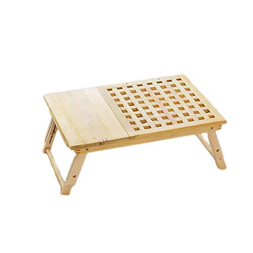 HYY-YY Plegable computadora de la Tabla de bambú Vuelta Ajustable Plegable Cama de la Tabla/TV Bandeja de Piso Mesa de Desayuno Vector de la porción del Ordenador portátil de la Bandeja de Escritura