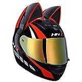 Casco Integral De Moto, Casco Moto Con Orejas De Gato, Modular Cara Completa Oreja De Gato Casco Moto Con Visera Negra Abierto Para Mujeres Estilo Retro Oscuro Casco De Motocross F,M