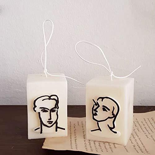 PPuujia Matisse - Molde de cera para decoración de velas, diseño de cabeza de pareja (color: molde para hombres y mujeres)
