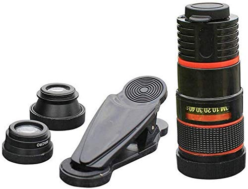 IW.HLMF Monoculares compactos de Bolsillo portátiles, 4 en 1 Kit de Lentes de cámara de teléfono Universal Lente telefoto 8X Lente Gran Angular, para observación de Aves, Caza, Deportes