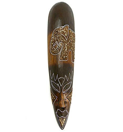 Mscara frica madera, 50cm, diseo de elefante. Hecho a mano.