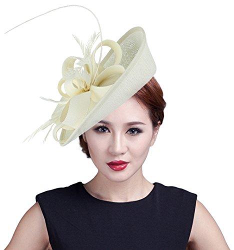 EOZY Mujer Tocado de Boda Sombrero Vintage Blanco Arroz