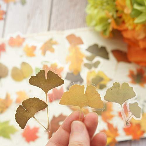PMSMT 18 Uds Hojas de otoño Ginkgo Biloba Hojas de Arce Estilo PE Pegatina Scrapbooking DIY Regalo Etiqueta de Embalaje Etiqueta de decoración