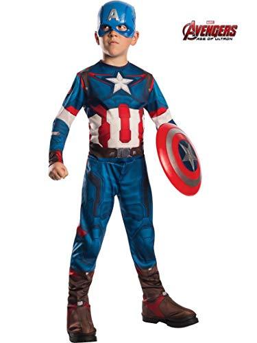 Rubie's IT610424 - Costume 'Captain America', Multicolore, L (8-10 anni)