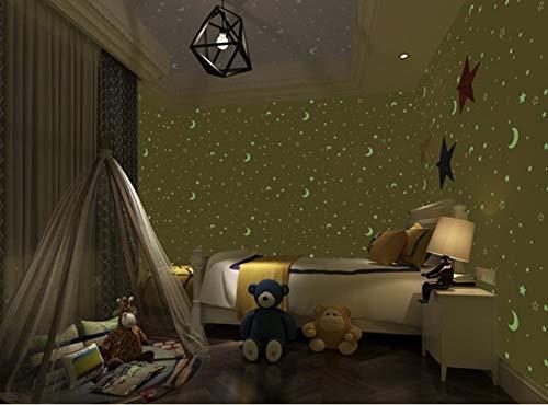 Muurstickers Vliegtuig 3D Sterren Maan Kinderkamer Lichtgevende Stof Behang Decoratieve Jongen Meisje Slaapkamer Cartoon Fluorescerende Muur, PVC Home Decoratie Muursticker (10m*0.53m)