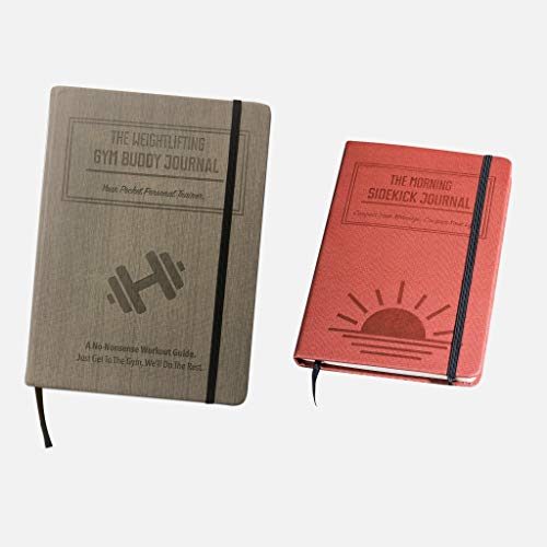 Habit Nest 1x Weightlifting Gym Buddy Journal (Gray) Bundle with 1x Morning Sidekick Journal (Sunrise Red).