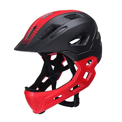 2-in-1 fietshelm voor kinderen, Protec helm Kids, afneembare kinbescherming kinderfiets, BMX, skateboard, balance car, rood