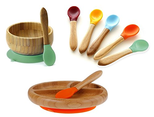 Avanchy Mix & Match Organic - Bamboo Baby Gift Set. Bamboo Baby Bowl + Bamboo Baby Divided Plate + 5 Assorted Spoons Set. Great for Baby Boy, Baby Girl, Unisex (Green Bowl/Orange Plate)