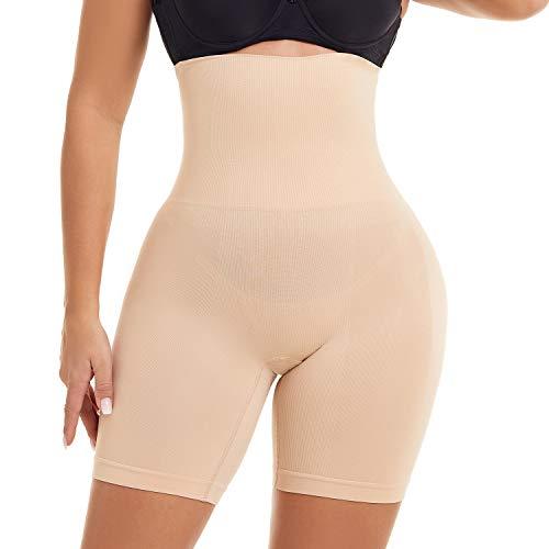 PAUKEE Damen Shapewear Hohe Taille Miederhose Bauch Weg Stark Formend Miederslip Taillenformer Miederpants, Farbe: Beige, Size XL