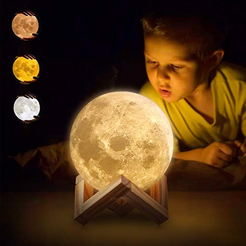 AED Moon Night Light Lamp, Touch & Remote Control, Three Colors, Dimmable, USB Rechargeable, 3D...