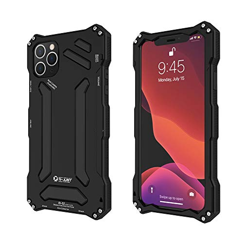 R-JUST Compatible for iPhone 11 Pro Max Metal Case,Premium Shockproof Dropproof Aluminum Metal Protection Mechanical Armor Cover Case for iPhone 11 Pro Max (Black, iPhone 11 Pro Max-6.5