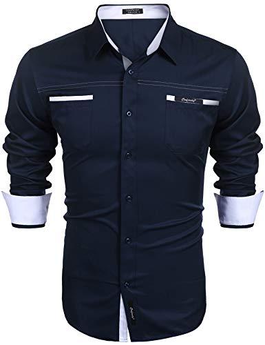 COOFANDY Herren Hemd Freizeithemd Langarmhemd Regular Fit Sommer Hemd Basic Hemden für Business Hochzeit Dating Party