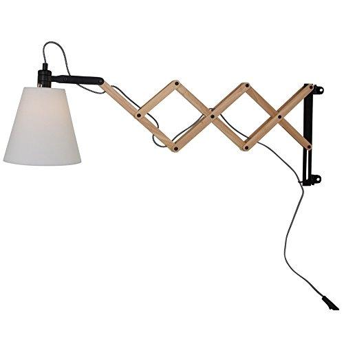 Wandleuchte LIV aus Birkenholz mit Ziehharmonika-Arm | Scherenwandleuchte im skandinavischen Design | Wandlampe inkl. LED-Leuchtmittel | Leuchte E14