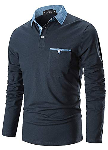 YIPIN Herren Poloshirt Langarm Basic Polo Denim Nähen Casual Polohemd Baumwolle Golf Tennis T-Shirt,Marine,XL