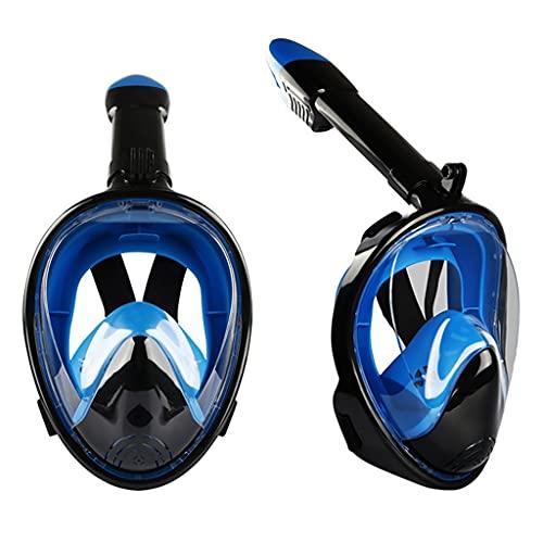 TYLZDZ Buceo y Snorkel Gafas De Buceo De Cara Completa Natación con Esnórquel Equipo De Esnórquel para Niños Y Adultos Plástico Gafas De Respiración para Principiantes (Color : Blue, Size : S)