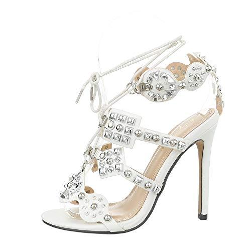 Ital-Design Damenschuhe Sandalen & Sandaletten High Heel Sandaletten Synthetik Weiß Gr. 37