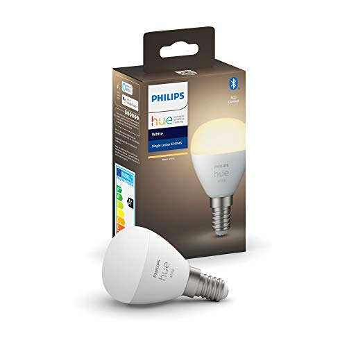 Philips Hue Bombilla Inteligente LED esférica E14, con Bluetooth, Luz blanca cálida, Compatible con Alexa y Google Home