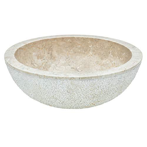 baliv Aufsatzwaschbecken WBA-7040 Marmor | Rundes Waschbecken ohne Hahnloch und ohne Überlauf