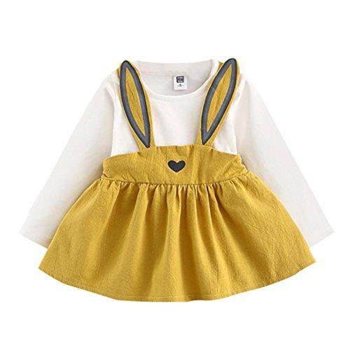 Ouneed® 3-36 Mois Bebe Fille Robe Hiver Vetement Ensemble Lapin Motifs Robe Manche Longue (12-24M, Jaune)