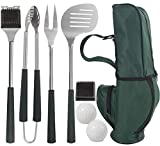 grilljoy 8pcs BBQ Grill Tools Set. Extra Thick Stainless Steel Fork, Spatula,Tongs& Cleaning Brush - Complete Golf-Style Grilling Accessories with Long Heat-Resistant Grip - Perfect Grill Set Gift