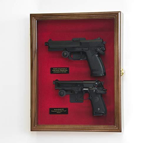 Large/Double 2 Pistol Handgun Revolver Gun Display Case...