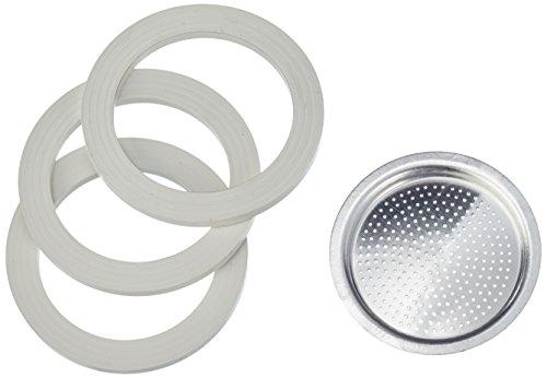 Bialetti Kaffeemaschine 2 Tassen Ersatz-Kit (Gummidichtung und Filter) aus Aluminium, Silber, 5.7 x 5.7 x 0.3 cm