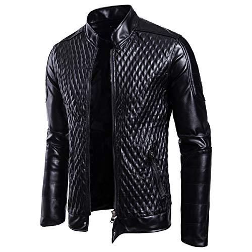 AOWOFS Herren Slim Fit Lederjacke mit Stehkragen Gesteppt Übergangsjacke aus Kunstleder Biker Jacke
