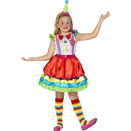 Smiffys-45250l Payaso Traje de Chica Bufón de Lujo, con Vestido y Sombrero, Color Ninguna, L-Edad 10-12 años (Smiffy'S 45250L)