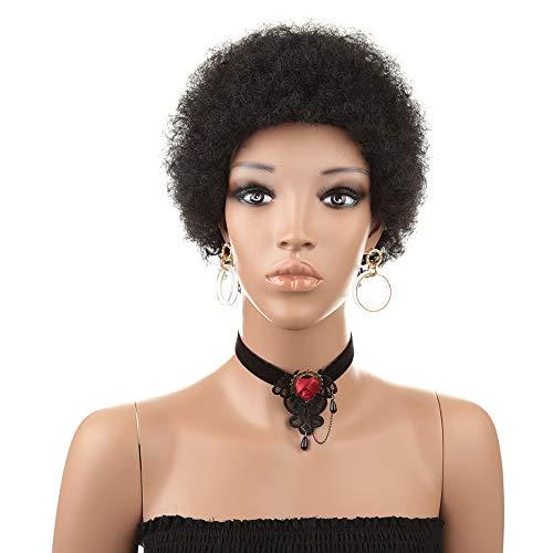 Femmes Perruques Cheveux Courts Bouclés Véritables Têtes Explosives Perruques Femmes Quotidien Perruques Africaines