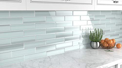 Vesper Light Blue Off White Glass Subway Tile For Kitchen Backsplash Or Bathroom From Bodesi Color Sample Buy Online In El Salvador At Desertcart Productid 129244256